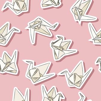 Origami papier zwaan hand getrokken labels naadloze patroon