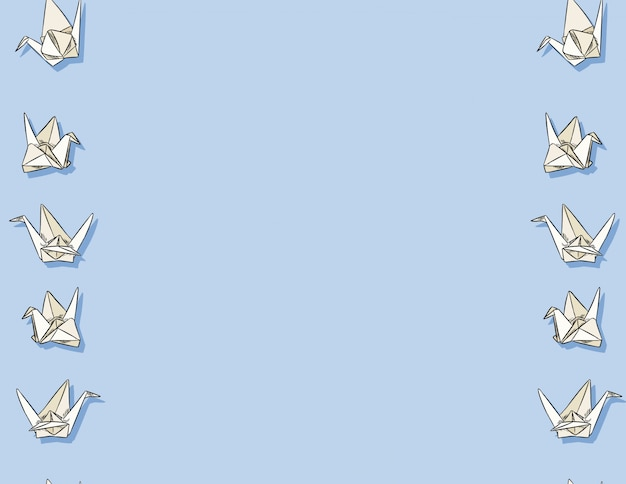 Origami papier zwaan hand getrokken naadloze patroon