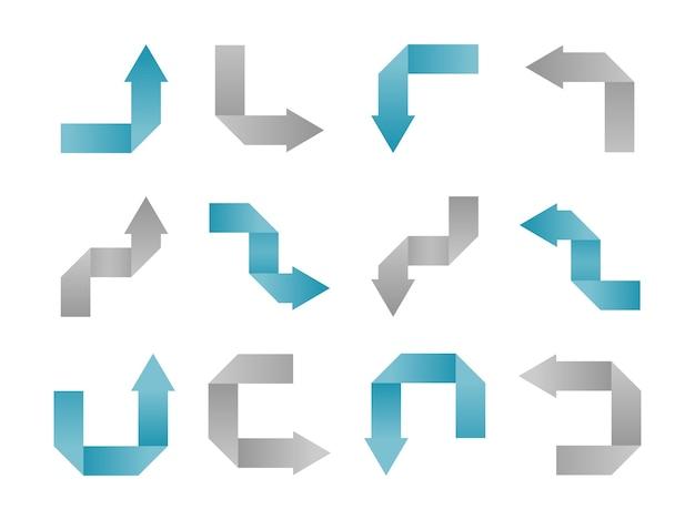 Origami pijl blauw en grijs, pijlen collectie set.