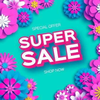 Origami pink super spring sale flowers banner paper cut floral spring blossom
