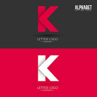 Origami stijl k brief logo