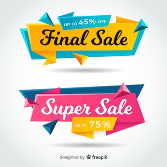 Origami verkoop banner collectie