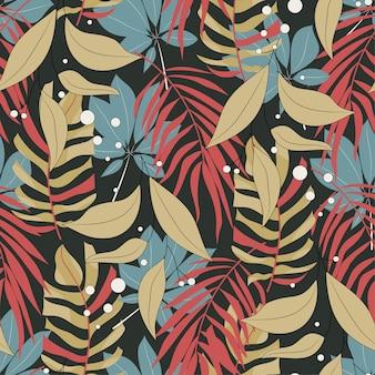 Origineel abstract naadloos patroon met kleurrijke tropische bladeren en planten op bruine achtergrond