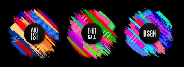 Origineel cirkelembleem door kwast, kleurrijke achtergrond. vector illustratie set