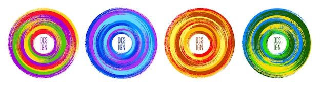 Origineel cirkelembleem door kwast, kleurrijke achtergrond. vector illustratie
