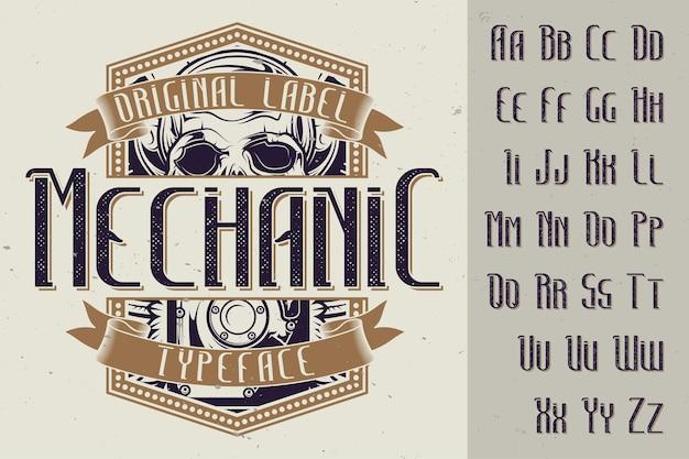 Origineel etiketlettertype genaamd 'mechanic'. goed te gebruiken in elk labelontwerp.