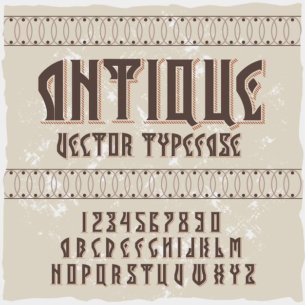 Origineel etiketlettertype met de naam 'antiek'