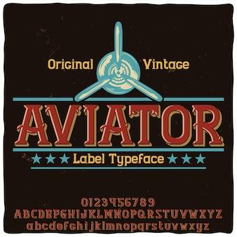 Origineel etiketlettertype met de naam 'aviator'