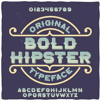 Origineel etiketlettertype met de naam 'bold hipster'