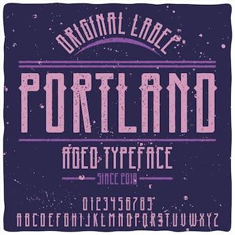 Origineel etiketlettertype met de naam
