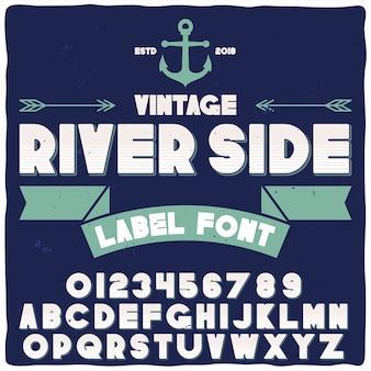 Origineel etiketlettertype met de naam 'river side'