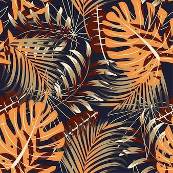 Origineel helder naadloos patroon met kleurrijke tropische bladeren en installaties
