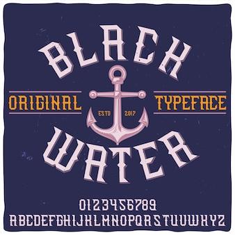 Origineel labeltype met de naam 'black water'