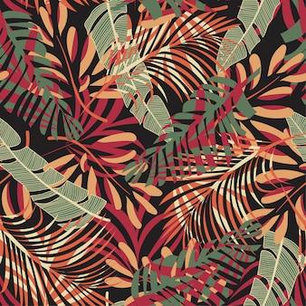 Origineel naadloos patroon met kleurrijke tropische bladeren en bloemen