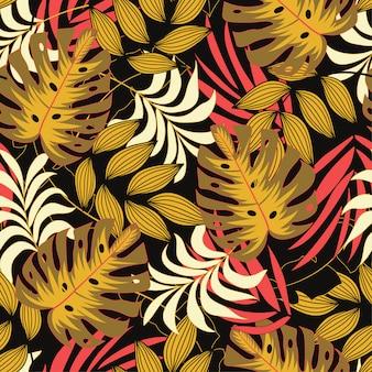 Origineel naadloos tropisch patroon met helder rood en geel