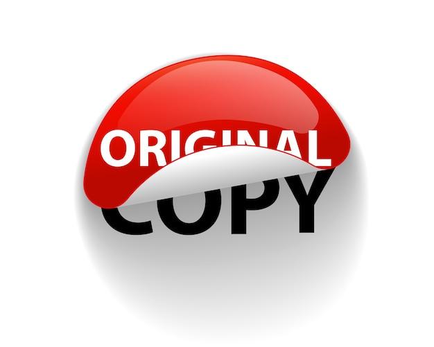 Origineel of kopie, creatief stickerlabel. slogan ontwerp.