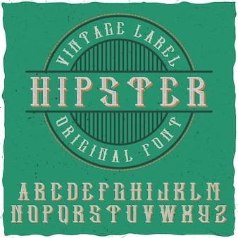 Origineel oud label lettertype
