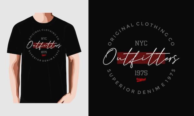 Origineel outfitters typografie tshirt ontwerp premium vector