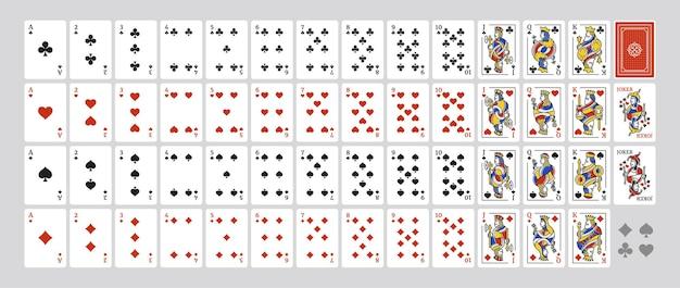 Origineel volledig kaartspel met 54 kaarten met illustraties van king queen jack en joker set