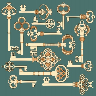 Originele antieke sleutelscollectie.