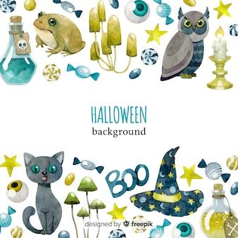 Originele aquarel halloween achtergrond