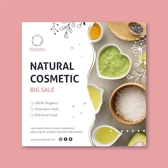 Originele essentie natuurlijke cosmetica vierkante flyer-sjabloon