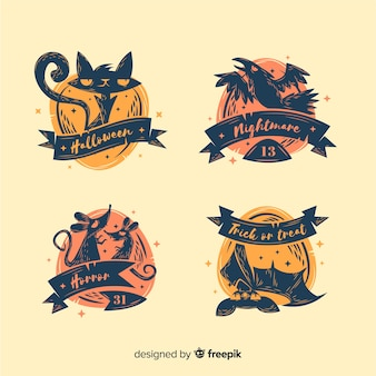 Originele halloween labelcollectie met plat ontwerp