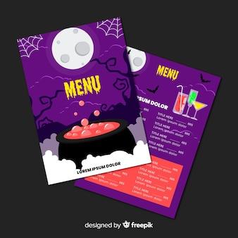 Originele halloween menusjabloon met platte ontwerp
