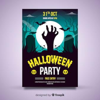 Originele halloween party poster sjabloon met platte ontwerp