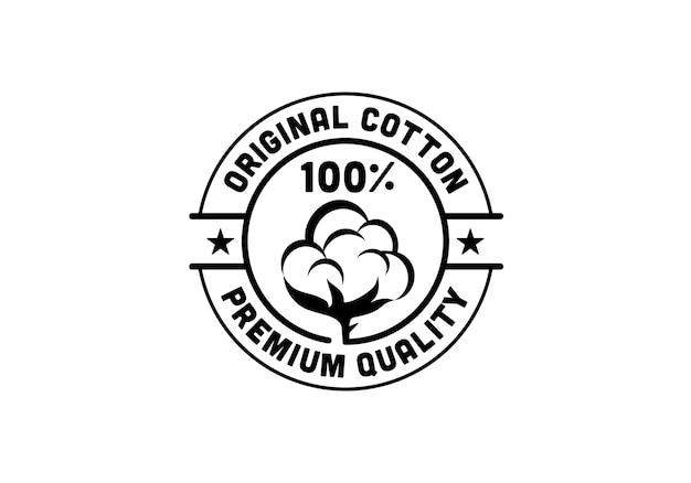 Originele katoenen productstempel label circulaire ronde ontwerpsjabloon