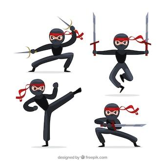 Originele ninjakarakterinzameling met vlak ontwerp