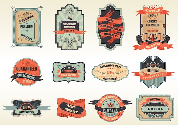 Originele retro labels emblemen collectie