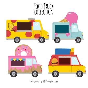 Originele set van kleurrijke voedselwagens