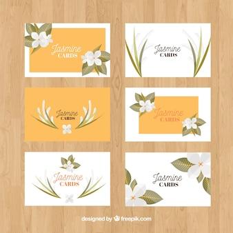 Originele verscheidenheid van jasmijn kaart sjablonen