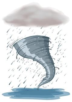 Orkaan en regenbui op witte achtergrond