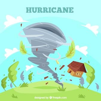 Orkaanontwerp in vlakke stijl