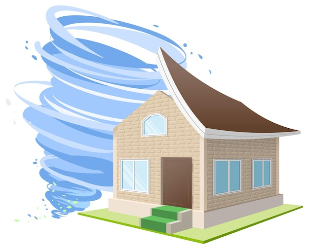 Orkaanwinden blies het dak van het huis. inboedelverzekering