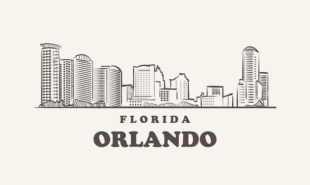 Orlando skyline, florida schets usa city