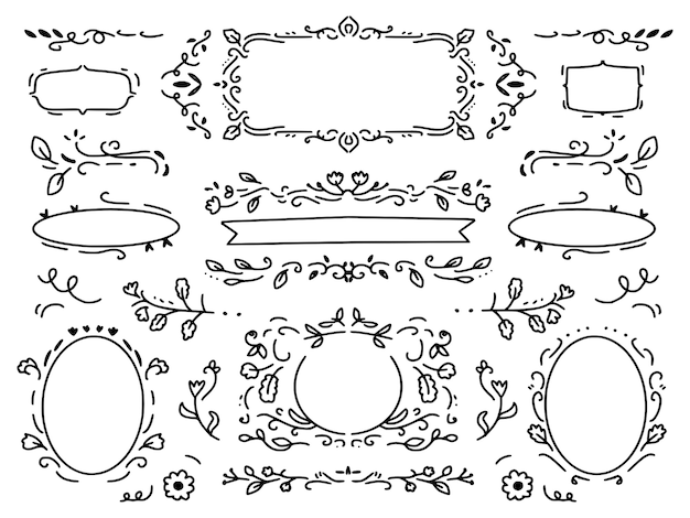 Ornament bloem krans en decoratieve tekening frame set collectie