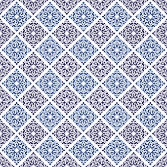Ornament bloemen sier naadloos patroon in batikstijl