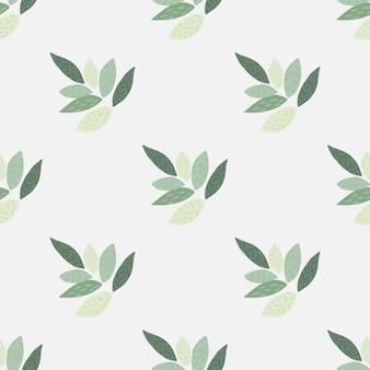 Ornament doorbladert naadloos botanisch patroon. groene elementen en lichte achtergrond in pasteltinten. simpel ontwerp.