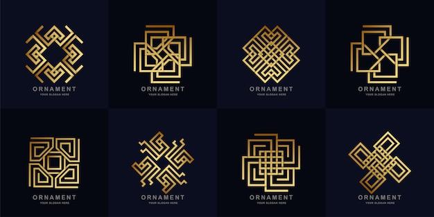 Ornament logo set collectie. minimalistisch, abstract, creatief, eenvoudig, digitaal, luxe, elegant en modern logo sjabloonontwerp.