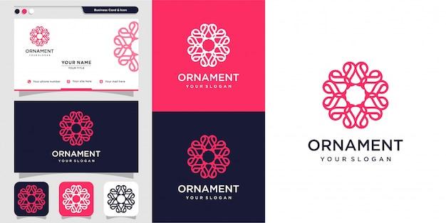 Ornament met bloem binnen logo concept en visitekaartje ontwerpsjabloon, luxe, bloem, schoonheid, sieraad, pictogram