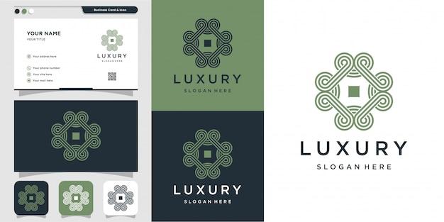 Ornament met lijn kunst logo en ontwerpsjabloon voor visitekaartjes
