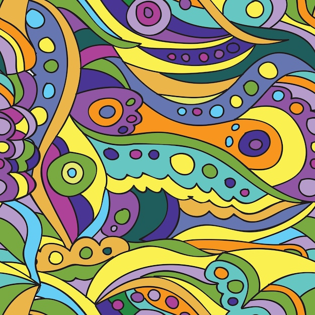 Ornament - naadloos patroon dudling - heldere vector background