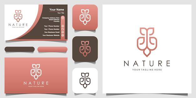 Ornament natuurlijk logo-ontwerp met bladconcept