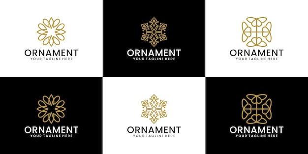 Ornament ontwerp logo collectie met lijnstijl