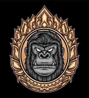 Ornament van gorillahoofd. premium vector