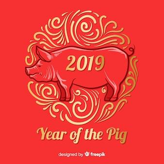 Ornamenten chinese nieuwe jaarachtergrond