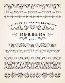 Ornaments borders. decoratieve designelementen.